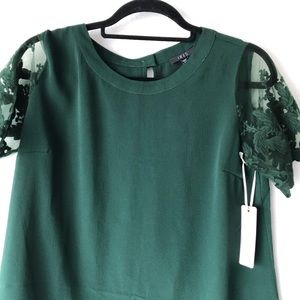 iris Tops - Iris Emerald Green Short Lace Sleeve Blouse Top